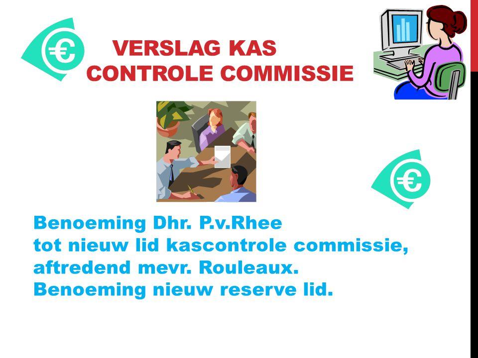 VERSLAG KAS CONTROLE COMMISSIE Benoeming Dhr. P.v.Rhee tot nieuw lid kascontrole commissie, aftredend mevr. Rouleaux. Benoeming nieuw reserve lid.