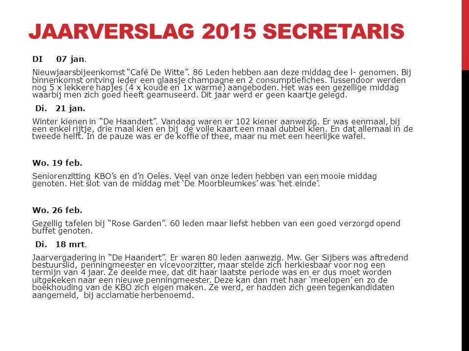 """JAARVERSLAG 2015 SECRETARIS DI 07 jan. Nieuwjaarsbijeenkomst """"Café De Witte"""". 86 Leden hebben aan deze middag dee l- genomen. Bij binnenkomst ontving"""