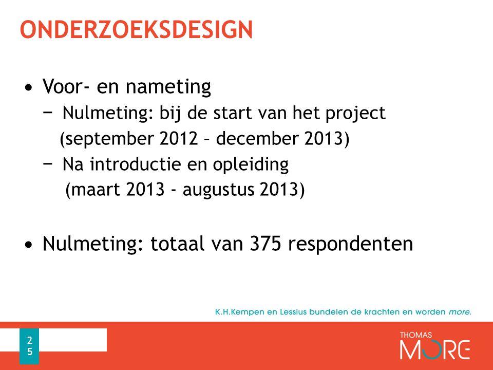 ONDERZOEKSDESIGN Voor- en nameting − Nulmeting: bij de start van het project (september 2012 – december 2013) − Na introductie en opleiding (maart 2013 - augustus 2013) Nulmeting: totaal van 375 respondenten 25