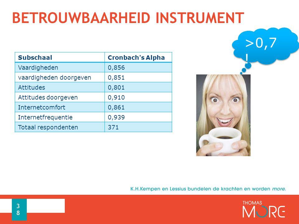 BETROUWBAARHEID INSTRUMENT SubschaalCronbach s Alpha Vaardigheden0,856 vaardigheden doorgeven0,851 Attitudes0,801 Attitudes doorgeven0,910 Internetcomfort0,861 Internetfrequentie0,939 Totaal respondenten371 38 >0,7 !