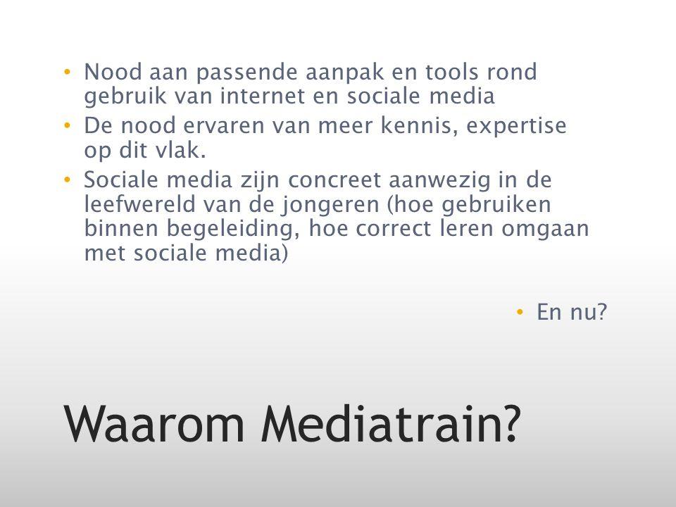 Nood aan passende aanpak en tools rond gebruik van internet en sociale media De nood ervaren van meer kennis, expertise op dit vlak.