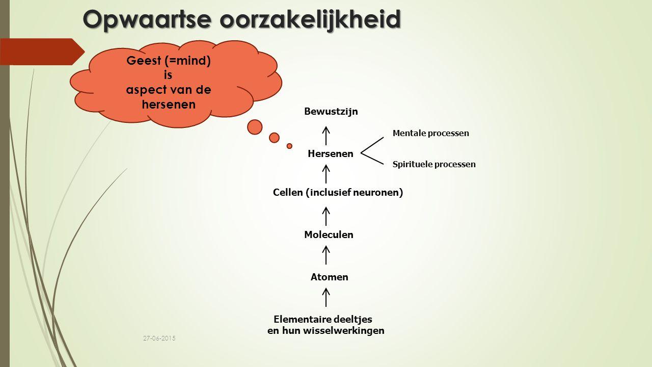Opwaartse oorzakelijkheid Elementaire deeltjes en hun wisselwerkingen Atomen Moleculen Cellen (inclusief neuronen) Hersenen Bewustzijn Mentale process