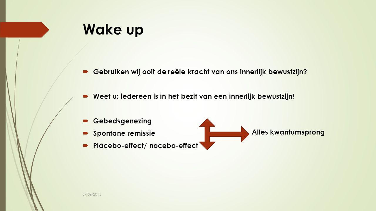 Wake up  Gebruiken wij ooit de reële kracht van ons innerlijk bewustzijn?  Weet u: iedereen is in het bezit van een innerlijk bewustzijn!  Gebedsge