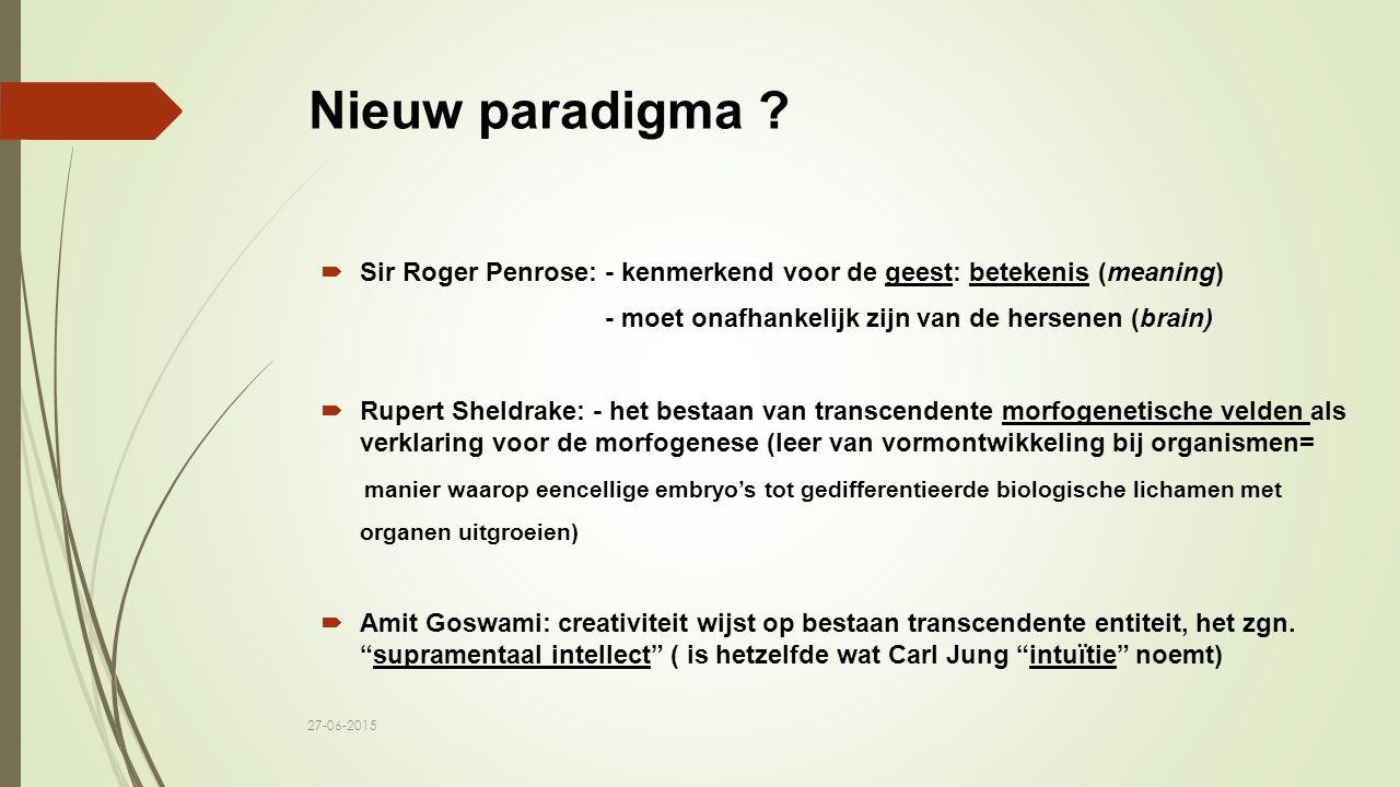 Nieuw paradigma ?  Sir Roger Penrose: - kenmerkend voor de geest: betekenis (meaning) - moet onafhankelijk zijn van de hersenen (brain)  Rupert Shel