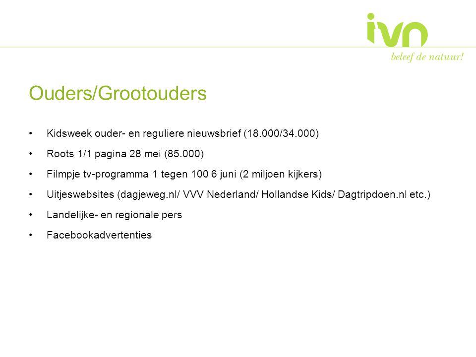 Ouders/Grootouders Kidsweek ouder- en reguliere nieuwsbrief (18.000/34.000) Roots 1/1 pagina 28 mei (85.000) Filmpje tv-programma 1 tegen 100 6 juni (2 miljoen kijkers) Uitjeswebsites (dagjeweg.nl/ VVV Nederland/ Hollandse Kids/ Dagtripdoen.nl etc.) Landelijke- en regionale pers Facebookadvertenties