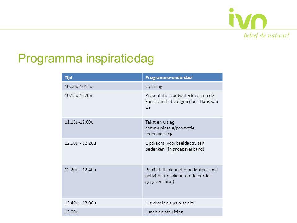 Programma inspiratiedag TijdProgramma-onderdeel 10.00u-1015uOpening 10.15u-11.15uPresentatie: zoetwaterleven en de kunst van het vangen door Hans van Os 11.15u-12.00uTekst en uitleg communicatie/promotie, ledenwerving 12.00u - 12:20uOpdracht: voorbeeldactiviteit bedenken (in groepsverband) 12.20u - 12:40uPubliciteitsplannetje bedenken rond activiteit (inhakend op de eerder gegeven info!) 12.40u - 13:00uUitwisselen tips & tricks 13.00uLunch en afsluiting