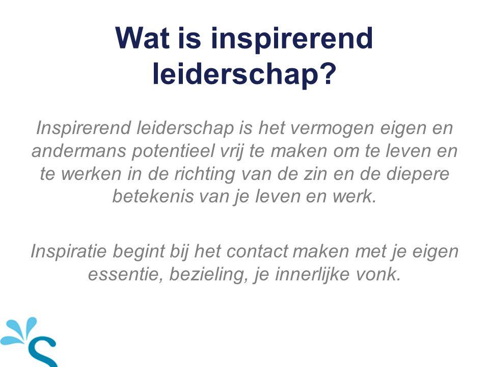 Wat is inspirerend leiderschap? Inspirerend leiderschap is het vermogen eigen en andermans potentieel vrij te maken om te leven en te werken in de ric