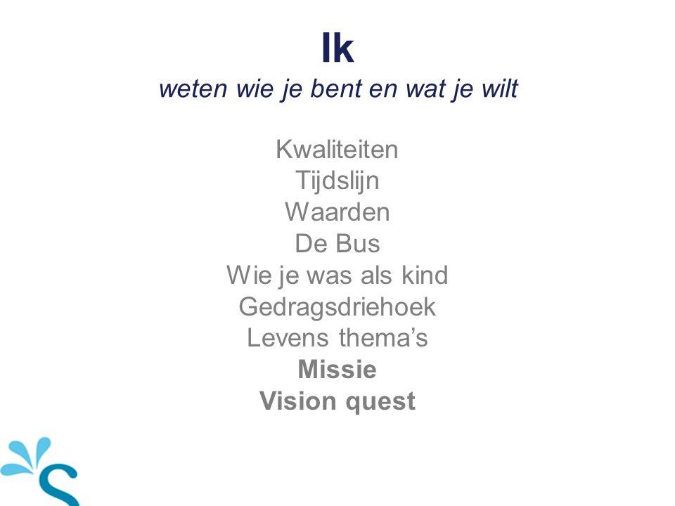 Ik weten wie je bent en wat je wilt Kwaliteiten Tijdslijn Waarden De Bus Wie je was als kind Gedragsdriehoek Levens thema's Missie Vision quest