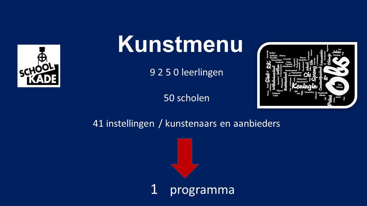 Kunstmenu 9 2 5 0 leerlingen 50 scholen 41 instellingen / kunstenaars en aanbieders 1 programma