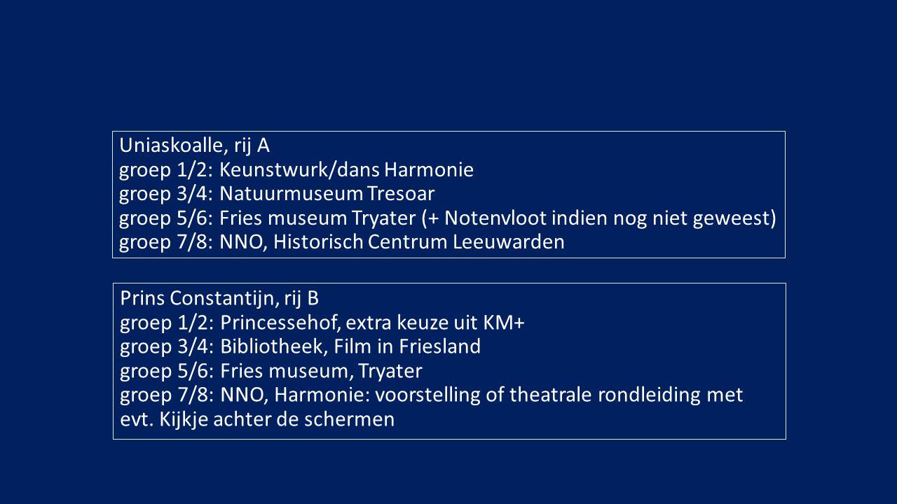 Uniaskoalle, rij A groep 1/2: Keunstwurk/dans Harmonie groep 3/4: Natuurmuseum Tresoar groep 5/6: Fries museum Tryater (+ Notenvloot indien nog niet geweest) groep 7/8: NNO, Historisch Centrum Leeuwarden Prins Constantijn, rij B groep 1/2: Princessehof, extra keuze uit KM+ groep 3/4: Bibliotheek, Film in Friesland groep 5/6: Fries museum, Tryater groep 7/8: NNO, Harmonie: voorstelling of theatrale rondleiding met evt.