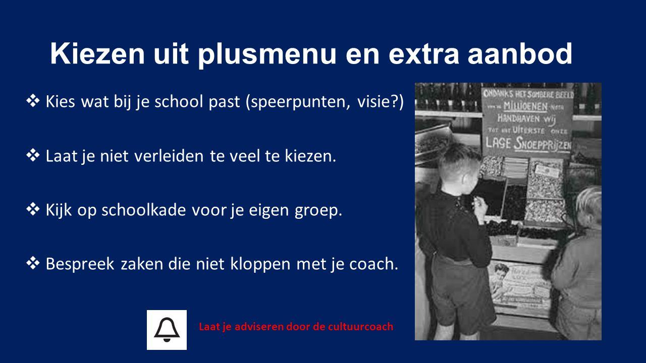 Kiezen uit plusmenu en extra aanbod  Kies wat bij je school past (speerpunten, visie?)  Laat je niet verleiden te veel te kiezen.