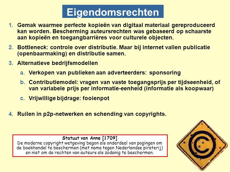 Eigendomsrechten 1.Gemak waarmee perfecte kopieën van digitaal materiaal gereproduceerd kan worden.