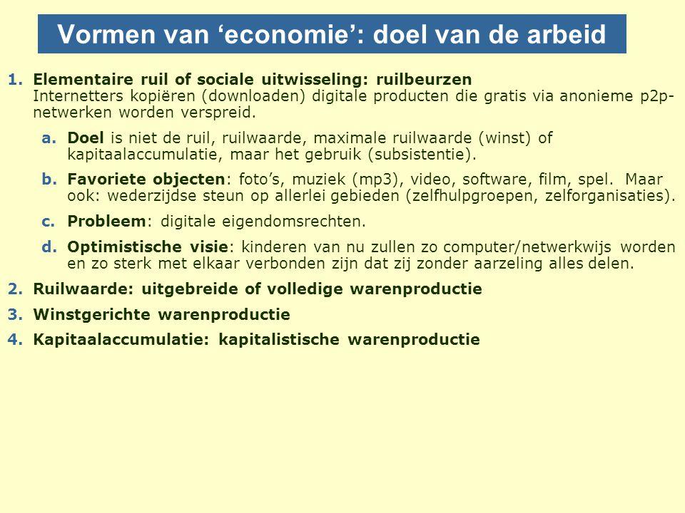 Vormen van 'economie': doel van de arbeid 1.Elementaire ruil of sociale uitwisseling: ruilbeurzen Internetters kopiëren (downloaden) digitale producten die gratis via anonieme p2p- netwerken worden verspreid.