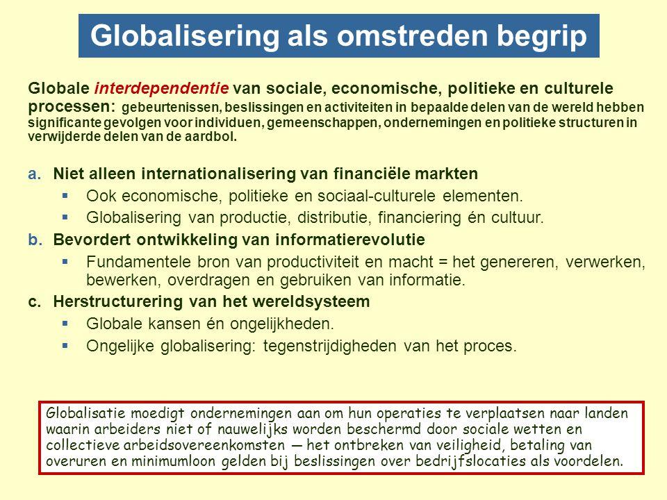 Culturele dimensies van globalisering Culturele stromen die globaal metropolitanisme reflecteren en reproduceren 1.Etnisch: stromen van bedrijfspersoneel, gastarbeiders, toeristen, immigranten en vluchtelingen..