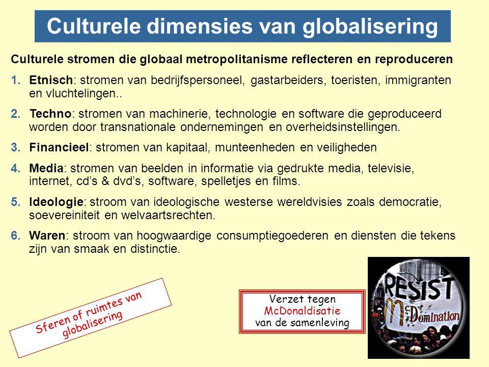 Culturele globalisering 1.Technologie schept mogelijkheid en zelfs waarschijnlijkheid van een globale cultuur.