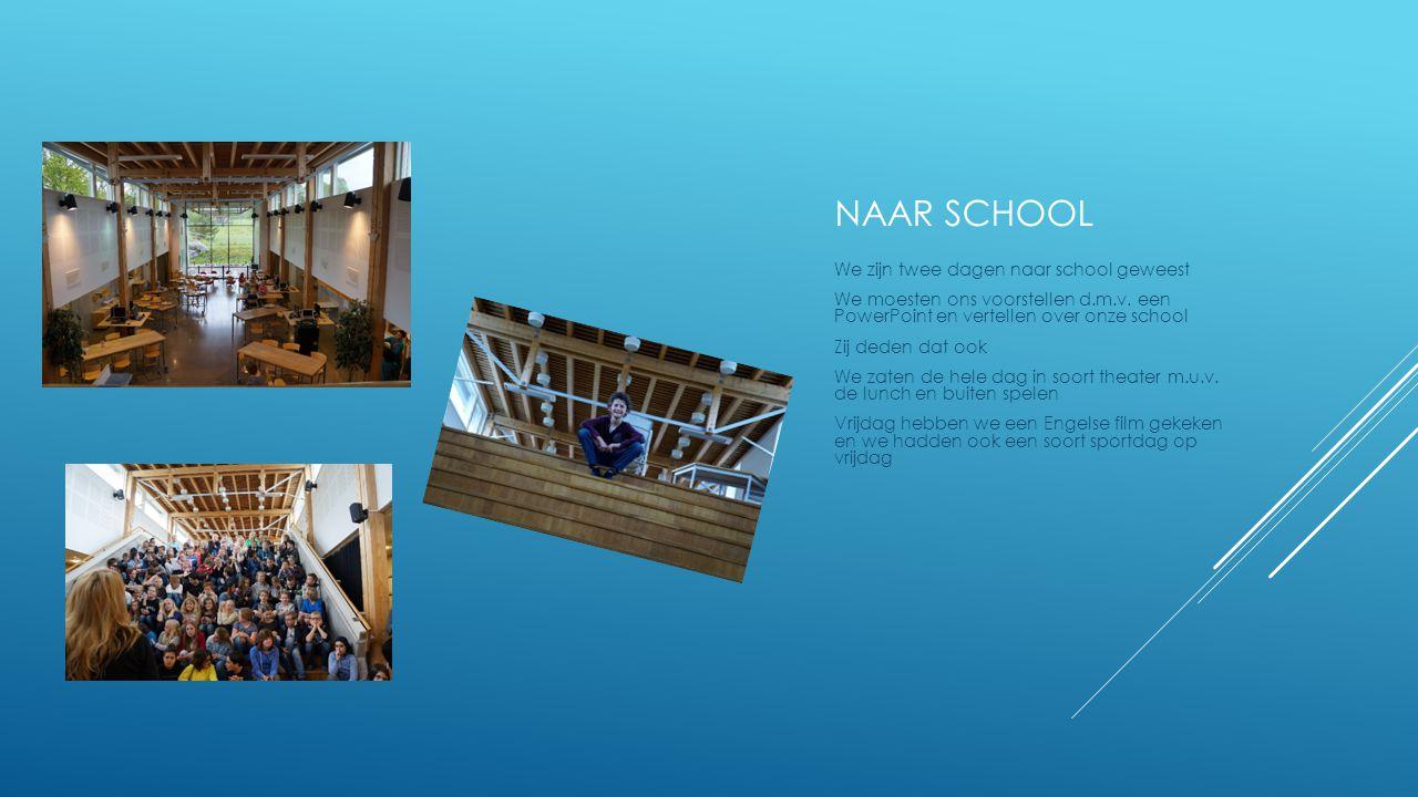 NAAR SCHOOL We zijn twee dagen naar school geweest We moesten ons voorstellen d.m.v. een PowerPoint en vertellen over onze school Zij deden dat ook We