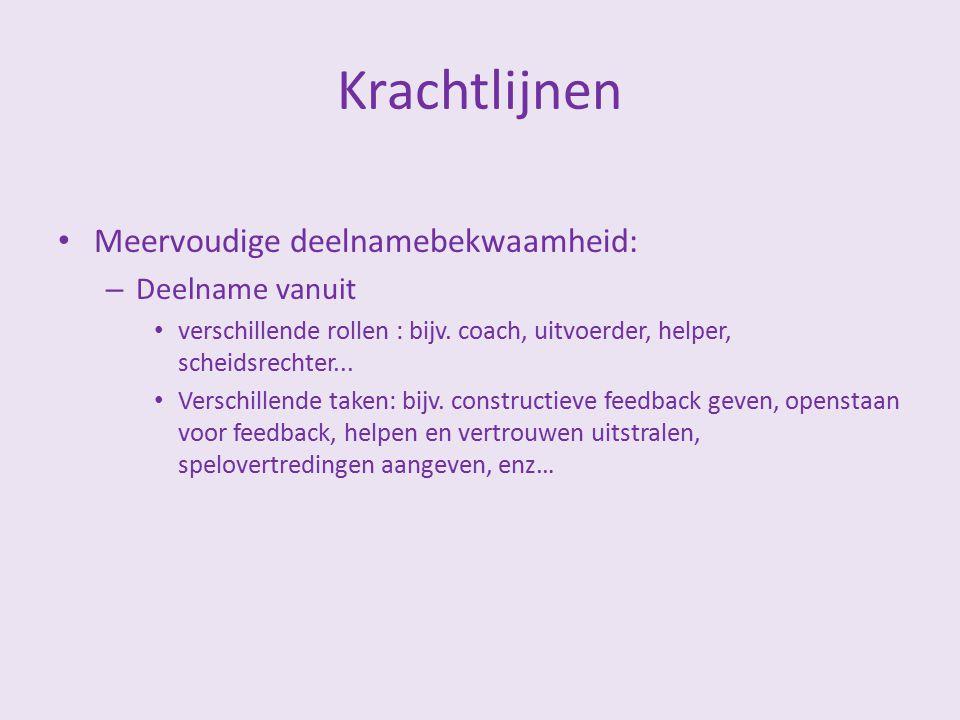 Krachtlijnen Meervoudige deelnamebekwaamheid: – Deelname vanuit verschillende rollen : bijv. coach, uitvoerder, helper, scheidsrechter... Verschillend
