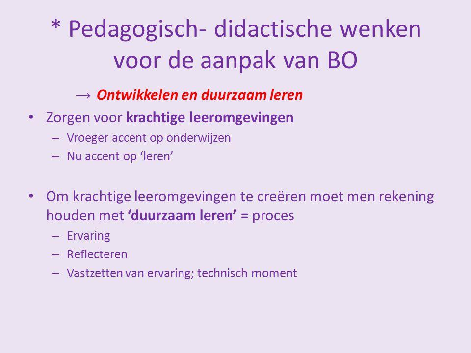 * Pedagogisch- didactische wenken voor de aanpak van BO → Ontwikkelen en duurzaam leren Zorgen voor krachtige leeromgevingen – Vroeger accent op onder