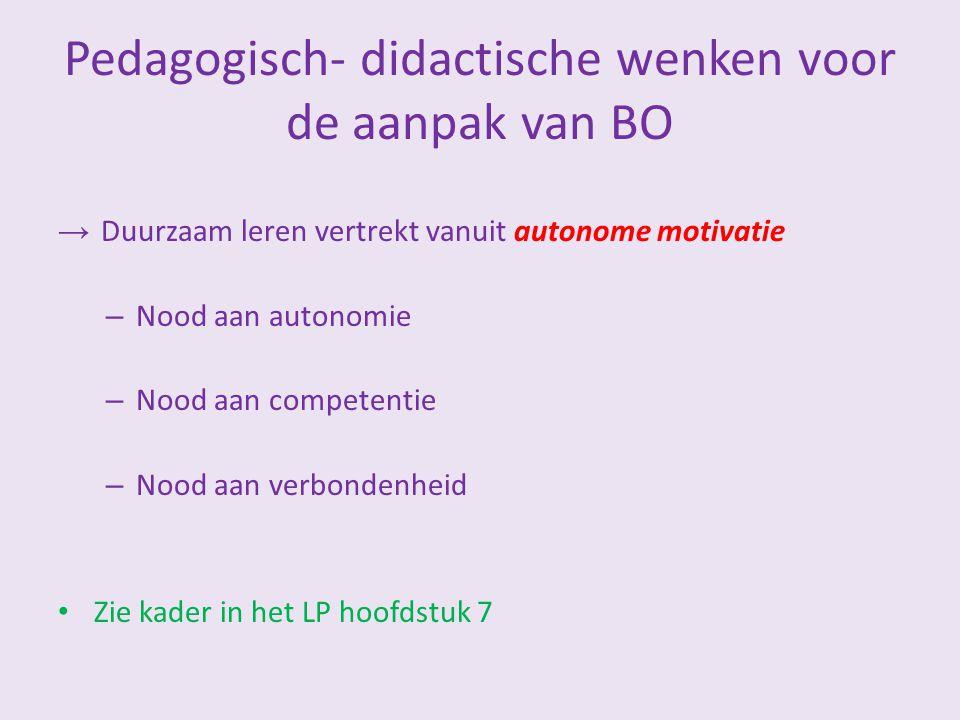 Pedagogisch- didactische wenken voor de aanpak van BO → Duurzaam leren vertrekt vanuit autonome motivatie – Nood aan autonomie – Nood aan competentie