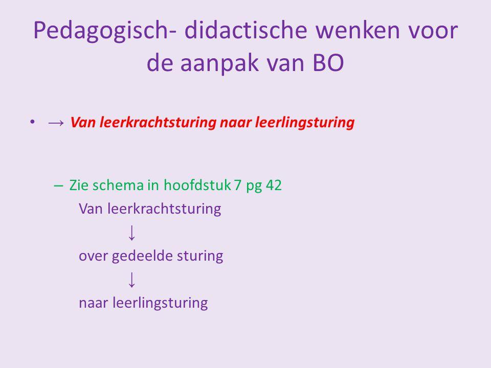 Pedagogisch- didactische wenken voor de aanpak van BO → Van leerkrachtsturing naar leerlingsturing – Zie schema in hoofdstuk 7 pg 42 Van leerkrachtstu