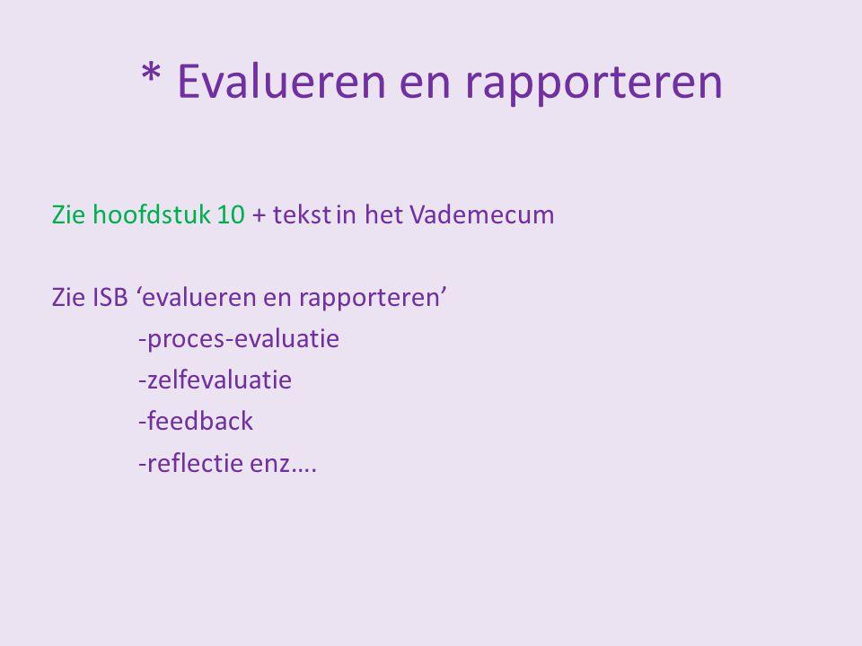 * Evalueren en rapporteren Zie hoofdstuk 10 + tekst in het Vademecum Zie ISB 'evalueren en rapporteren' -proces-evaluatie -zelfevaluatie -feedback -re