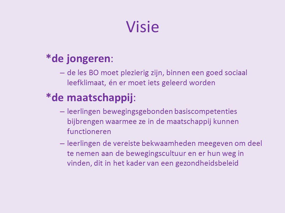 Visie *de jongeren: – de les BO moet plezierig zijn, binnen een goed sociaal leefklimaat, én er moet iets geleerd worden *de maatschappij: – leerlinge