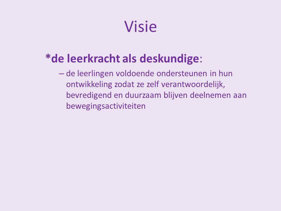 Visie *de leerkracht als deskundige: – de leerlingen voldoende ondersteunen in hun ontwikkeling zodat ze zelf verantwoordelijk, bevredigend en duurzaa