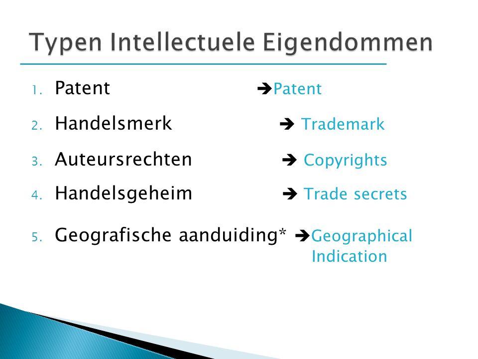 1. Patent  Patent 2. Handelsmerk  Trademark 3. Auteursrechten  Copyrights 4. Handelsgeheim  Trade secrets 5. Geografische aanduiding*  Geographic