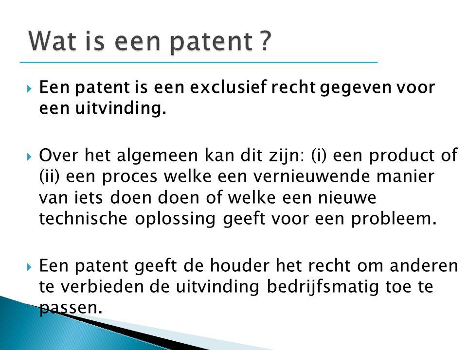  Een patent is een exclusief recht gegeven voor een uitvinding.  Over het algemeen kan dit zijn: (i) een product of (ii) een proces welke een vernie