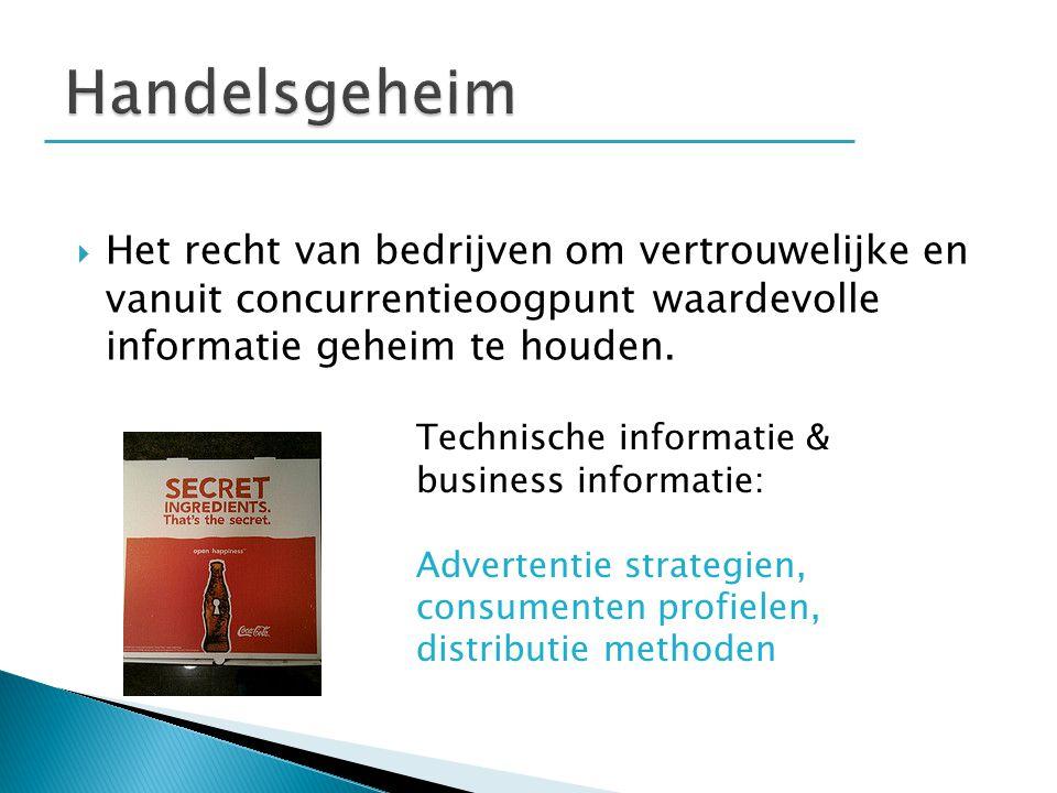  Het recht van bedrijven om vertrouwelijke en vanuit concurrentieoogpunt waardevolle informatie geheim te houden. Technische informatie & business in