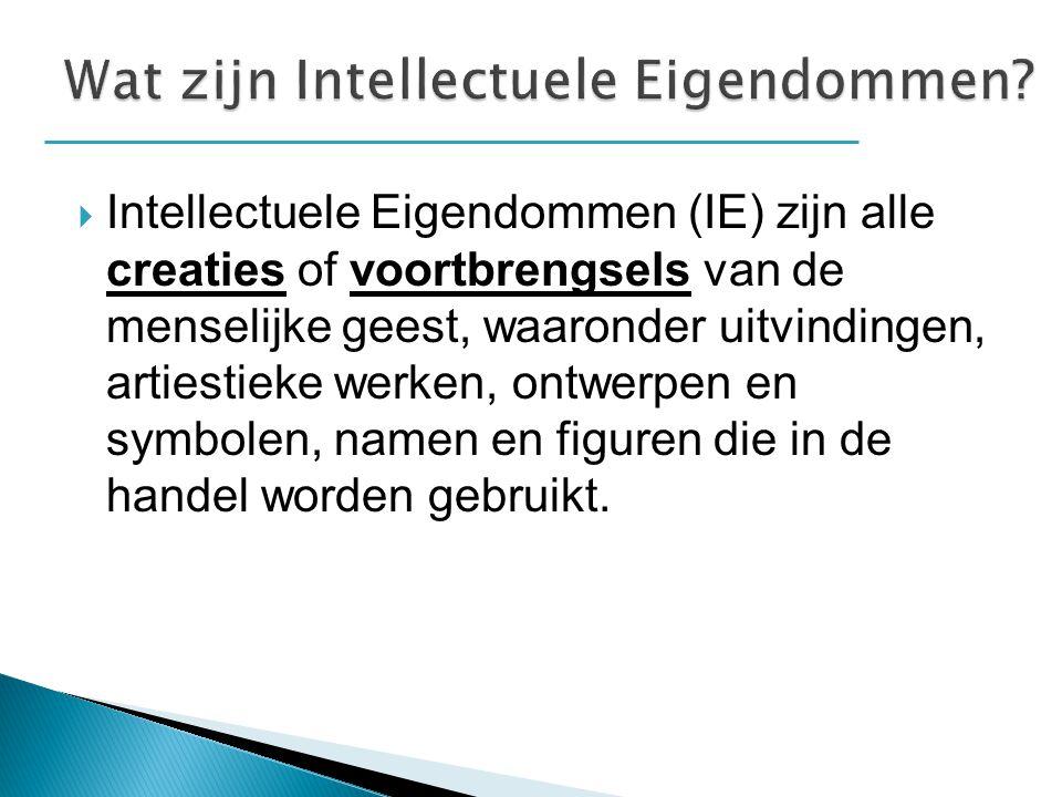  Intellectuele-eigendommen kunnen door de wet beschermd worden in de vorm van uiteenlopende rechten waaronder: Pattenten  Ze stellen individuen/organisatie/bedrijven in staat de erkenning te verkrijgen voor hun creaties en uitvindingen..