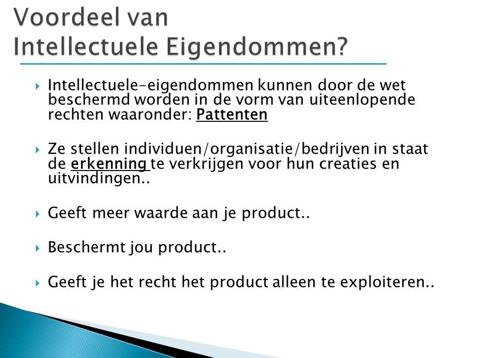 1.Patent  Patent 2. Handelsmerk  Trademark 3. Auteursrechten  Copyrights 4.