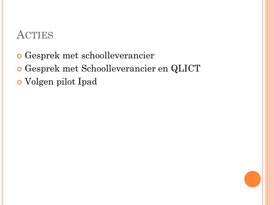 A CTIES Gesprek met schoolleverancier Gesprek met Schoolleverancier en QLICT Volgen pilot Ipad