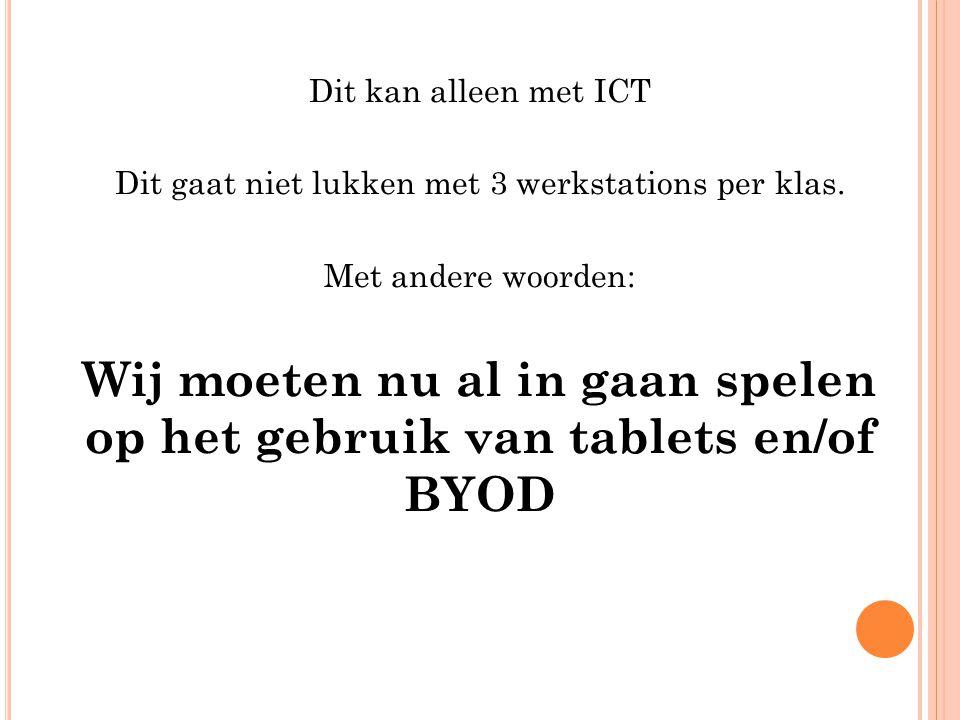 Dit kan alleen met ICT Dit gaat niet lukken met 3 werkstations per klas.