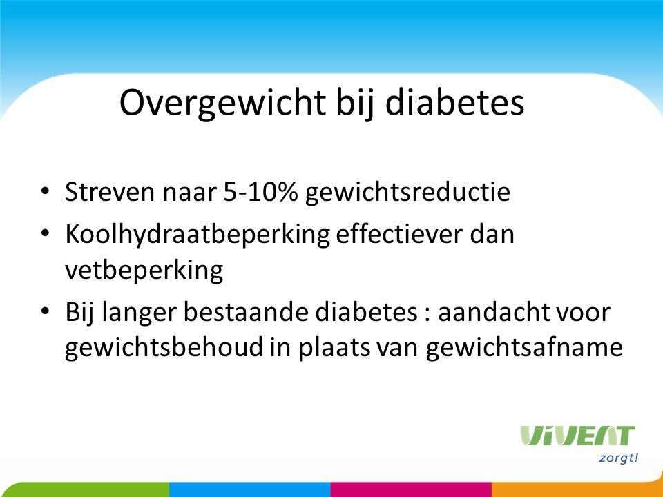 Overgewicht bij diabetes Streven naar 5-10% gewichtsreductie Koolhydraatbeperking effectiever dan vetbeperking Bij langer bestaande diabetes : aandach