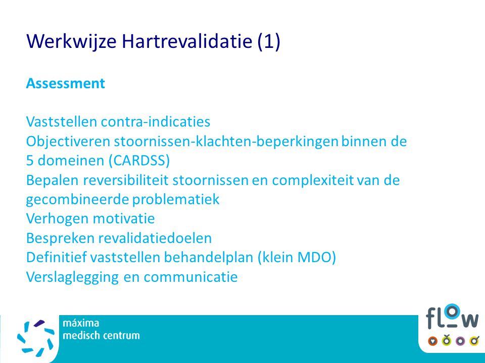 Werkwijze Hartrevalidatie (1) Assessment Vaststellen contra-indicaties Objectiveren stoornissen-klachten-beperkingen binnen de 5 domeinen (CARDSS) Bep