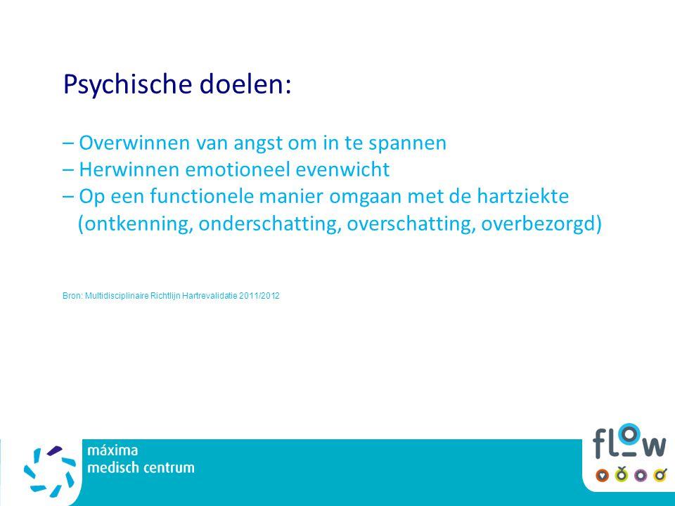 Psychische doelen: – Overwinnen van angst om in te spannen – Herwinnen emotioneel evenwicht – Op een functionele manier omgaan met de hartziekte (ontk