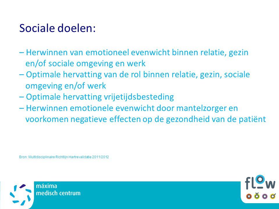 Sociale doelen: – Herwinnen van emotioneel evenwicht binnen relatie, gezin en/of sociale omgeving en werk – Optimale hervatting van de rol binnen rela