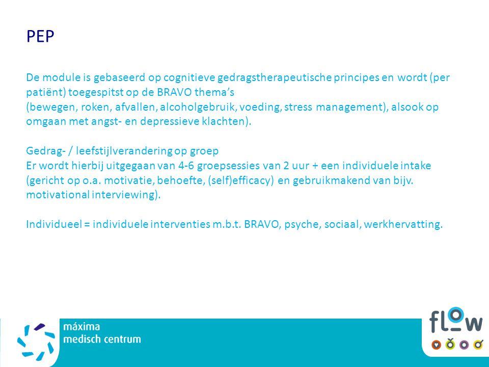 PEP De module is gebaseerd op cognitieve gedragstherapeutische principes en wordt (per patiënt) toegespitst op de BRAVO thema's (bewegen, roken, afval