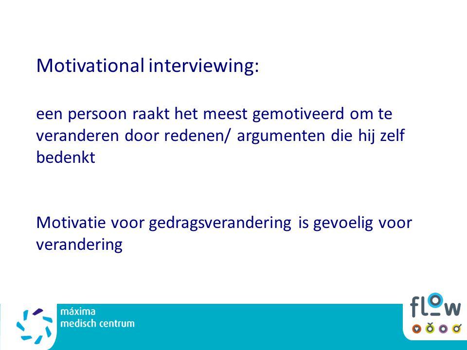 Motivational interviewing: een persoon raakt het meest gemotiveerd om te veranderen door redenen/ argumenten die hij zelf bedenkt Motivatie voor gedra
