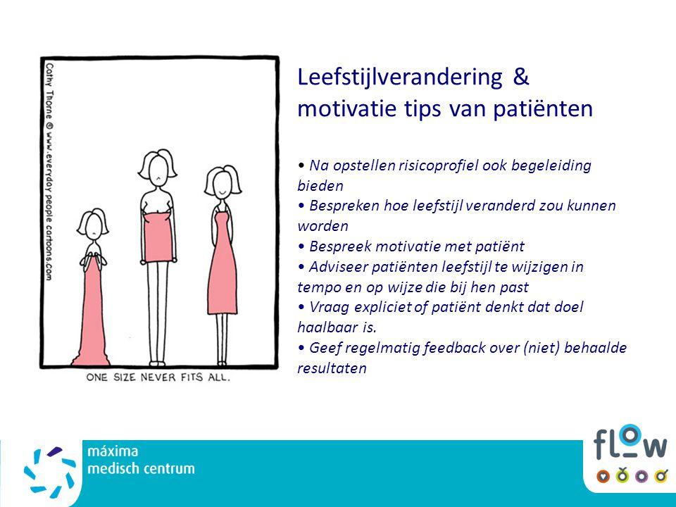 Leefstijlverandering & motivatie tips van patiënten Na opstellen risicoprofiel ook begeleiding bieden Bespreken hoe leefstijl veranderd zou kunnen wor