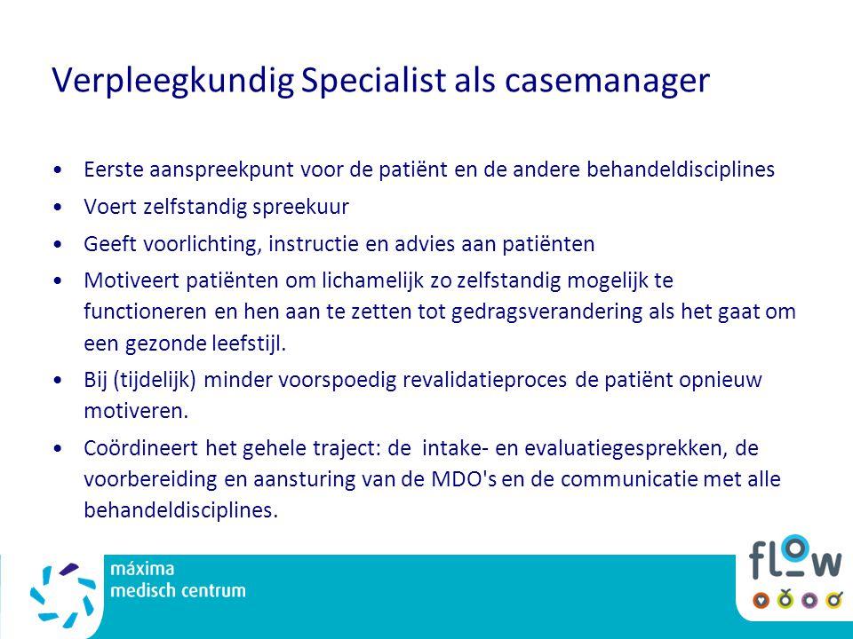 Verpleegkundig Specialist als casemanager Eerste aanspreekpunt voor de patiënt en de andere behandeldisciplines Voert zelfstandig spreekuur Geeft voor