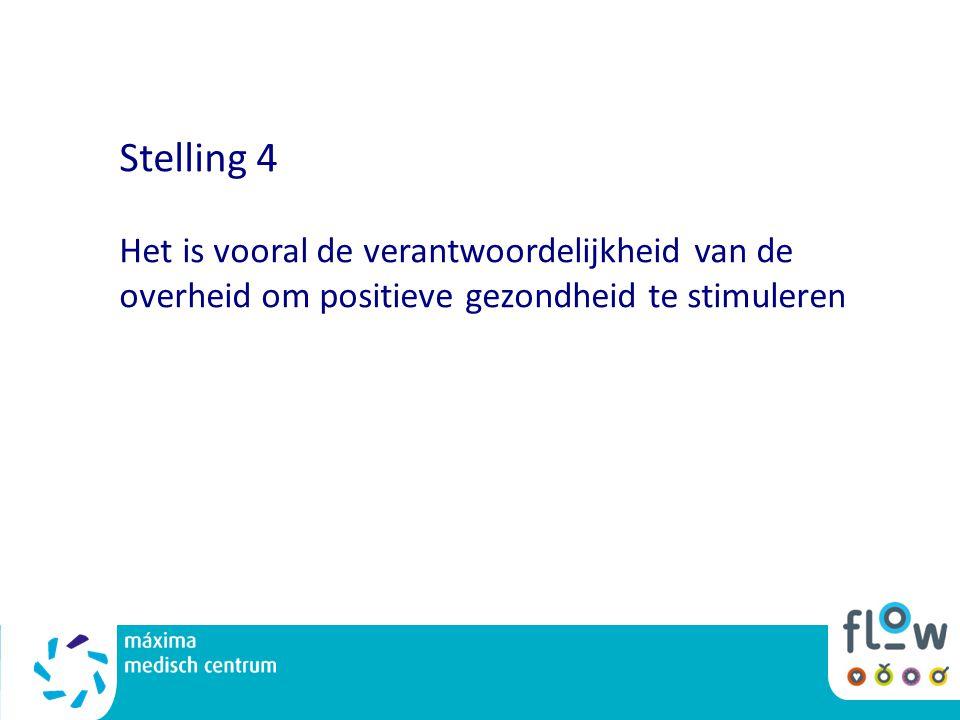 Stelling 4 Het is vooral de verantwoordelijkheid van de overheid om positieve gezondheid te stimuleren