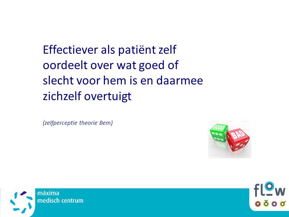 Effectiever als patiënt zelf oordeelt over wat goed of slecht voor hem is en daarmee zichzelf overtuigt (zelfperceptie theorie Bem)