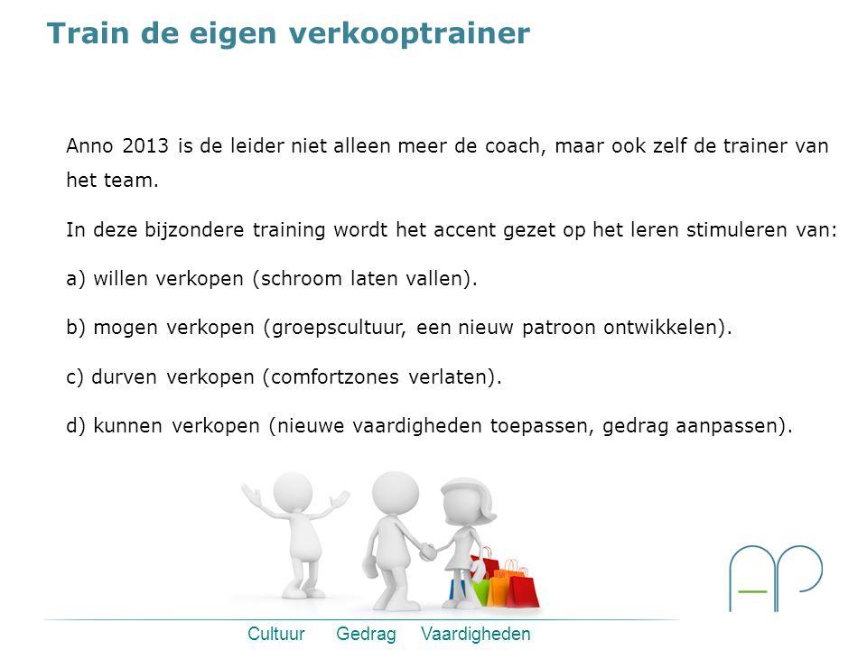Train de eigen verkooptrainer Cultuur Gedrag Vaardigheden Anno 2013 is de leider niet alleen meer de coach, maar ook zelf de trainer van het team.