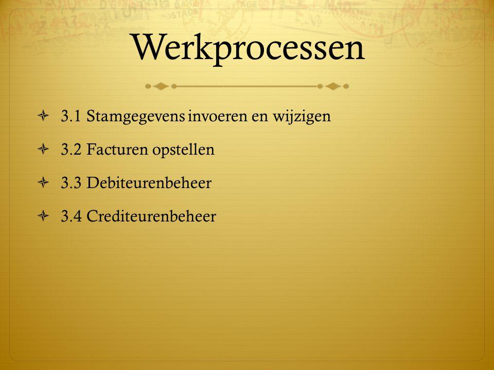Werkprocessen  3.1 Stamgegevens invoeren en wijzigen  3.2 Facturen opstellen  3.3 Debiteurenbeheer  3.4 Crediteurenbeheer