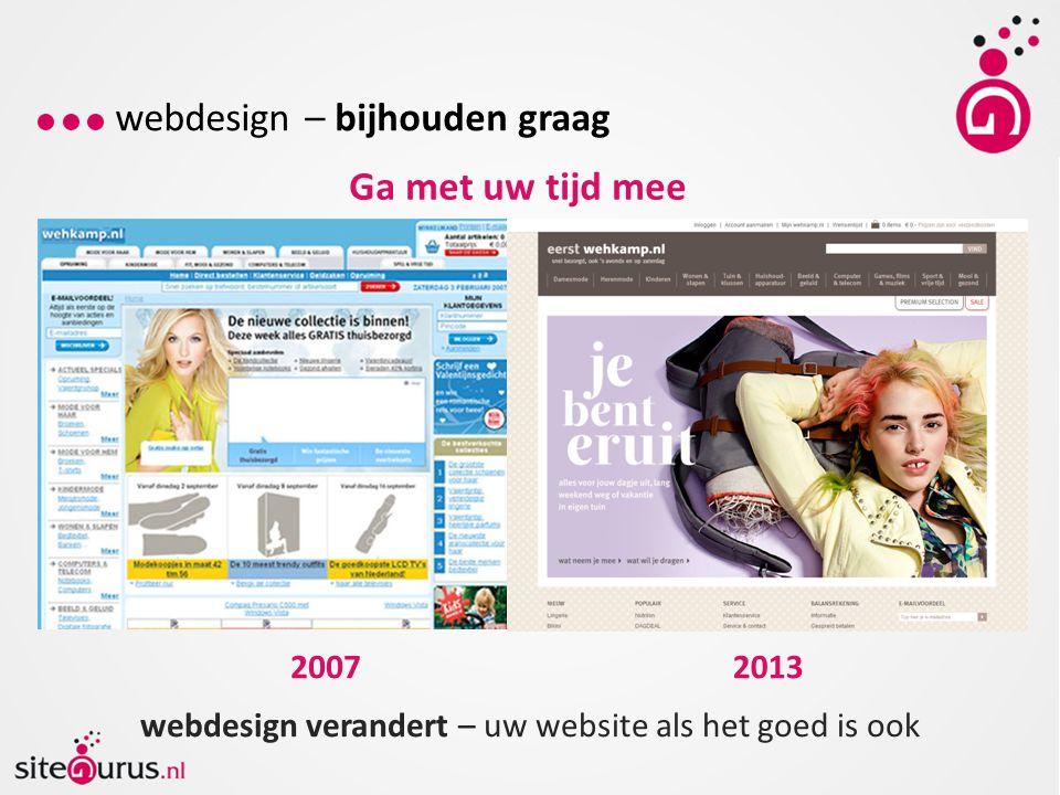 webdesign – bijhouden graag Ga met uw tijd mee webdesign verandert – uw website als het goed is ook 20072013
