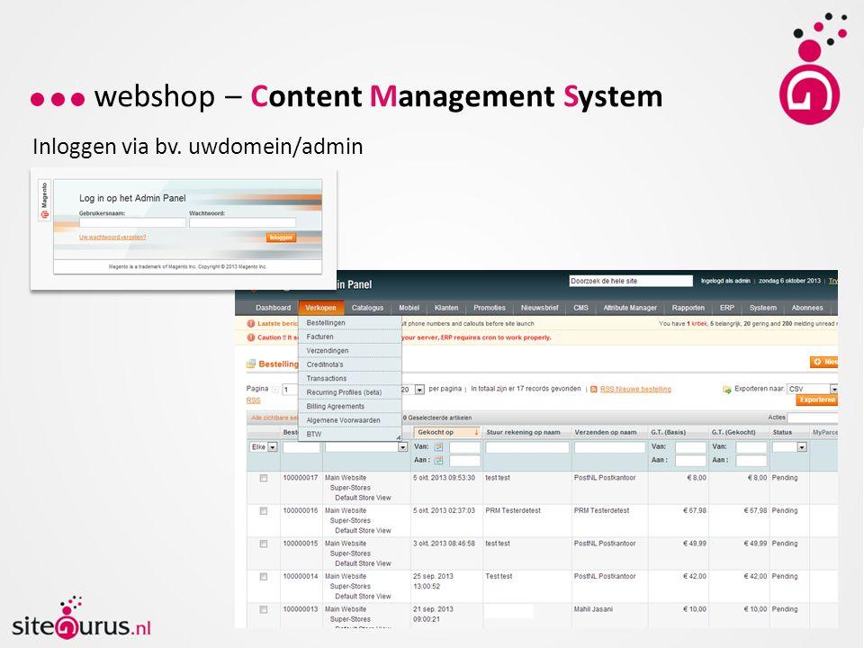 webshop – Content Management System Inloggen via bv. uwdomein/admin