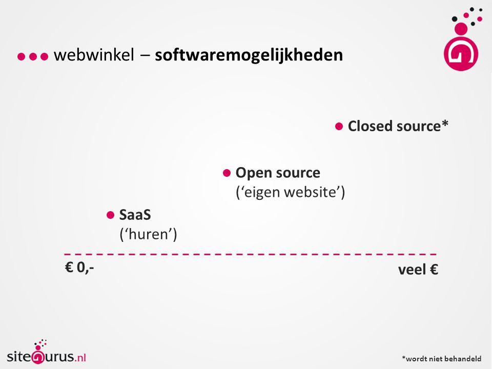 webwinkel – softwaremogelijkheden € 0,- veel € SaaS ('huren') Open source ('eigen website') Closed source* *wordt niet behandeld