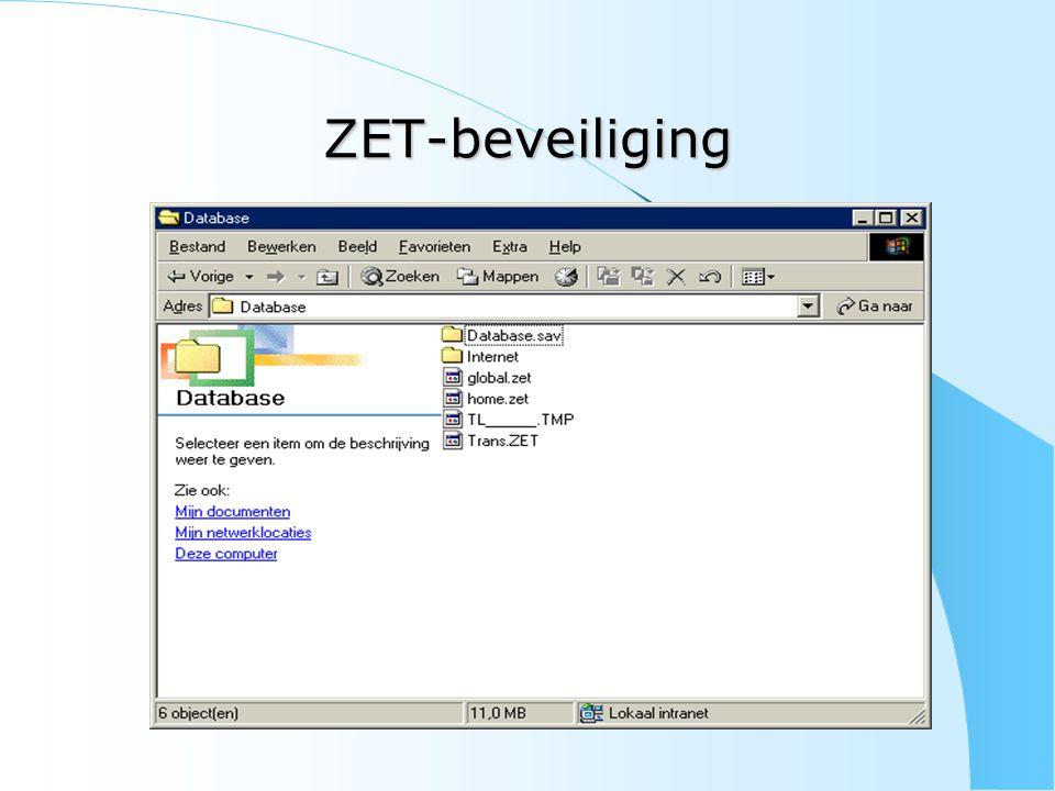 ZET-beveiliging Spreek met uw ICT-coördinator af : – dat hij ZET niet veegt van de transfer-pc – dat hij steeds een nieuwe CD vraagt indien hij toch een nieuwe installatie moet uitvoeren